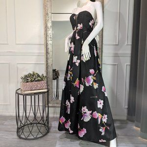 Strapless Floral Formal Evening Prom Dress Gown